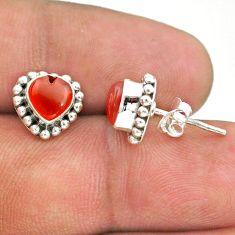 925 silver 2.54cts natural orange cornelian (carnelian) stud earrings t41595