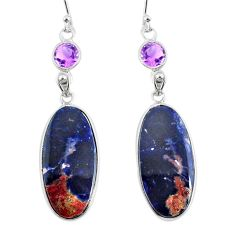 925 silver 19.18cts natural orange sodalite amethyst dangle earrings r75608