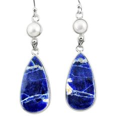 925 silver 17.87cts natural orange sodalite white pearl dangle earrings r75610