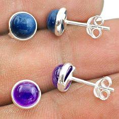 925 silver 4.49cts natural owyhee opal amethyst 2 pair studs earrings t50891