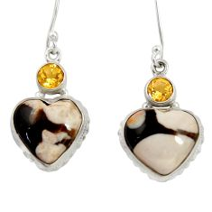 925 silver 20.07cts natural peanut petrified wood fossil heart earrings d39558