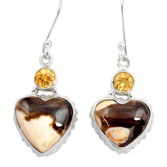 Clearance Sale- 925 silver 20.07cts natural peanut petrified wood fossil heart earrings d39560
