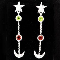 925 silver 1.94cts natural peridot red garnet moon star earrings r71211