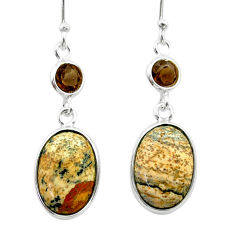 925 silver 9.02cts natural picture jasper smoky topaz dangle earrings t56038