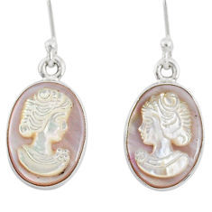 925 silver 7.45cts natural pink cameo on shell lady face earrings r80419