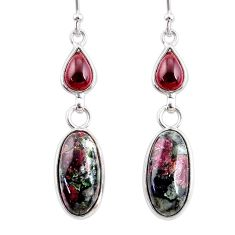 925 silver 11.28cts natural pink eudialyte red garnet dangle earrings r68270