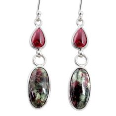 925 silver 10.89cts natural pink eudialyte red garnet dangle earrings r68274