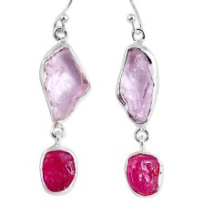 925 silver 16.70cts natural pink kunzite rough ruby rough dangle earrings r55451
