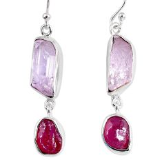 925 silver 17.18cts natural pink kunzite rough ruby rough dangle earrings r55455