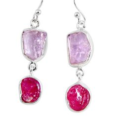925 silver 16.70cts natural pink kunzite rough ruby rough dangle earrings r55459