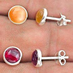 925 silver 4.24cts natural pink moonstone garnet 2 pair studs earrings t50877