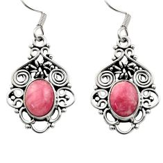 Clearance Sale- 925 silver 6.27cts natural pink rhodochrosite inca rose dangle earrings d40875