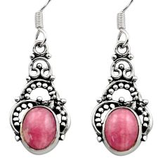 Clearance Sale- 925 silver 6.57cts natural pink rhodochrosite inca rose dangle earrings d40878