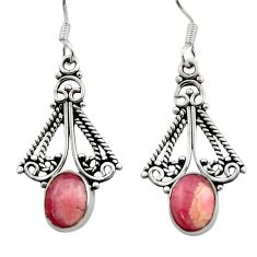 Clearance Sale- 925 silver 6.39cts natural pink rhodochrosite inca rose dangle earrings d40880