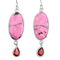925 silver 19.12cts natural pink rhodonite in black manganese earrings r75624