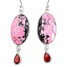 925 silver 18.39cts natural pink rhodonite in black manganese earrings r75628