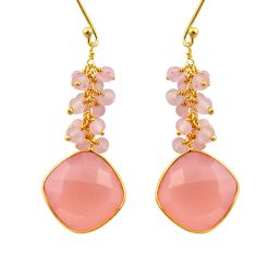 925 silver 20.70cts natural pink rose quartz 14k gold dangle earrings r32794