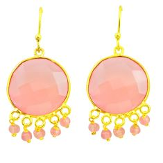 925 silver 20.33cts natural pink rose quartz 14k gold dangle earrings r38738
