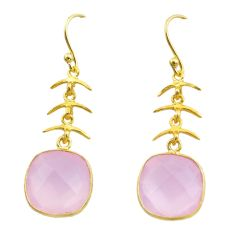 925 silver 11.60cts natural pink rose quartz 14k gold dangle earrings t44180