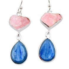 925 silver 17.42cts natural pink rose quartz raw kyanite earrings t38252