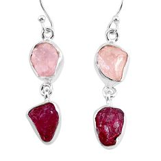 925 silver 11.18cts natural pink rose quartz raw ruby rough earrings r93715