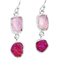 925 silver 12.60cts natural pink rose quartz raw ruby rough earrings r93718