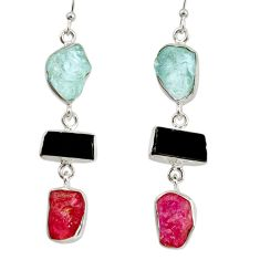 925 silver 22.44cts natural pink ruby rough aquamarine rough earrings d40358