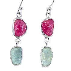 925 silver 16.17cts natural pink ruby rough aquamarine rough earrings r55384