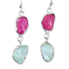 925 silver 16.17cts natural pink ruby rough aquamarine rough earrings r55418