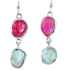 925 silver 16.70cts natural pink ruby rough aquamarine rough earrings r55420