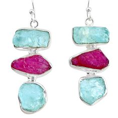925 silver 22.73cts natural pink ruby raw aquamarine rough earrings r73013
