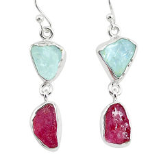 925 silver 12.17cts natural pink ruby raw aquamarine rough earrings r93664