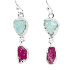 925 silver 10.79cts natural pink ruby raw aquamarine rough earrings r93667