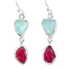 925 silver 12.12cts natural pink ruby raw aquamarine rough earrings r93671