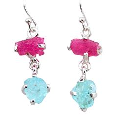 925 silver 7.63cts natural pink ruby rough aquamarine raw earrings t25584