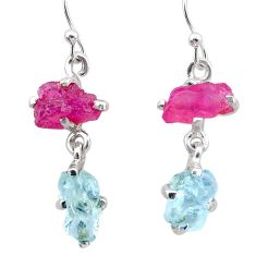 925 silver 8.68cts natural pink ruby rough aquamarine raw earrings t25588
