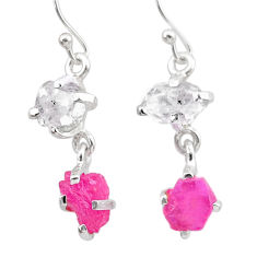 925 silver 7.55cts natural pink ruby rough herkimer diamond earrings t25546
