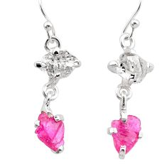 925 silver 8.15cts natural pink ruby rough herkimer diamond earrings t25549