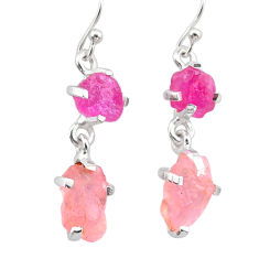 925 silver 10.48cts natural pink ruby rough rose quartz raw earrings t25614