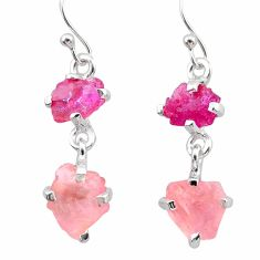 925 silver 8.42cts natural pink ruby rough rose quartz raw earrings t25616