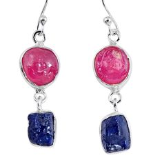 925 silver 15.85cts natural pink ruby rough sapphire rough earrings r55397