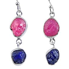 925 silver 14.88cts natural pink ruby rough sapphire rough earrings r55400