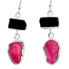 925 silver 14.40cts natural pink ruby rough tourmaline rough earrings d40336