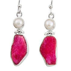 925 silver 16.17cts natural pink ruby rough white pearl dangle earrings d40335