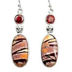 925 silver 14.08cts natural pink sonoran dendritic rhyolite earrings r28970