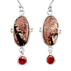 925 silver 11.93cts natural pink sonoran dendritic rhyolite earrings r28975