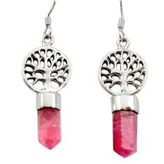 925 silver 10.31cts natural pink tourmaline tree of life earrings jewelry d40564