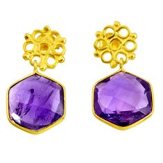 925 silver 12.54cts natural purple amethyst 14k gold dangle earrings d40377