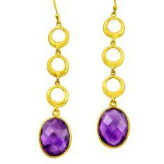 925 silver 18.28cts natural purple amethyst 14k gold dangle earrings r31748