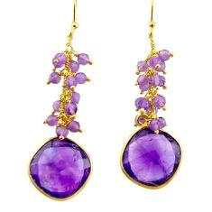 925 silver 20.33cts natural purple amethyst 14k gold dangle earrings r38464